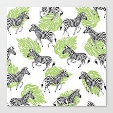 Zebras green pattern Canvas Print