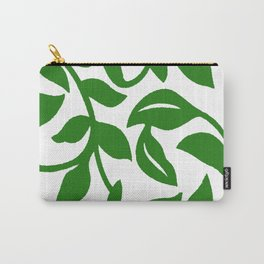 PALM LEAF VINE SWIRL IN GREEN AND WHITE Carry-All Pouch