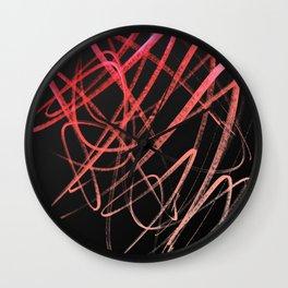 Salmon Pink Wavy Lines on Black Wall Clock