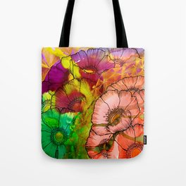 Modern Flowers and Shapes - Mixed Media Tote Bag