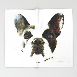 French Bulldog Art - High Contrast Painting by Sharon Cummings Throw Blanket