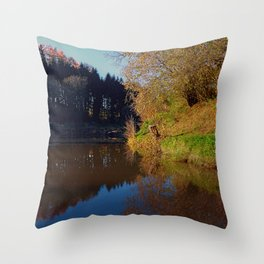 Romantic evening at the pond | waterscape photography Throw Pillow