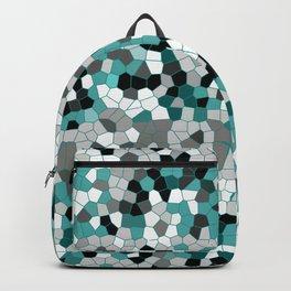 Mosaic pattern grey turquoise white Backpack