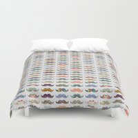 switzerland Duvet Covers featuring Mustache Mania by Bianca Green