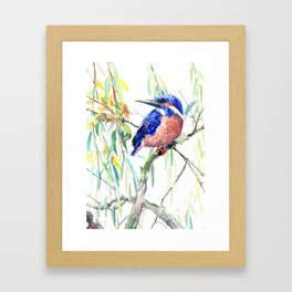 Kingfisher and Willow Framed Art Print