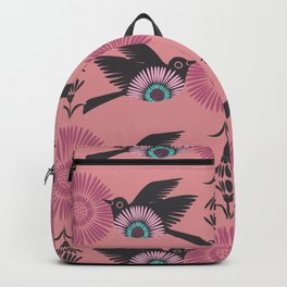 Blackbirds and Pink Blooms Backpack