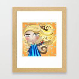 Blonde Hair Doll and Bird Friend Shower Curtain 2017 Framed Art Print