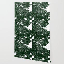Amsterdam Green on White Street Map Wallpaper