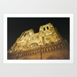 Notre Dame at night. Art Print