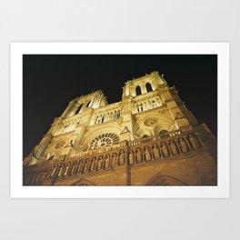 Notre Dame at night. Art Print