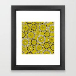 bike wheels chartreuse Framed Art Print