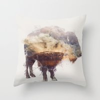 bison Throw Pillows featuring Bison by Daniel Taylor