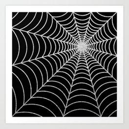 Spiderweb   Silver Glitter Art Print