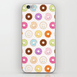 Happy Cute Donuts Pattern iPhone Skin