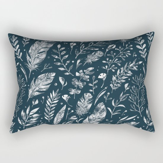 Feathers And Leaves Abstract Pattern Black And White Rectangular Pillow