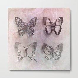 Powder Blush Pink and Lavender Butterflies Metal Print