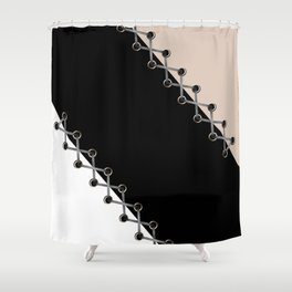Lacing . Black , white and beige . Shower Curtain