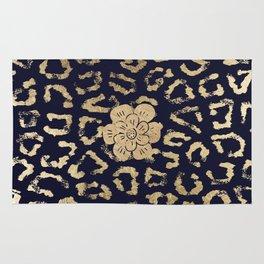 Modern navy blue faux gold hipster cheetah animal print Rug