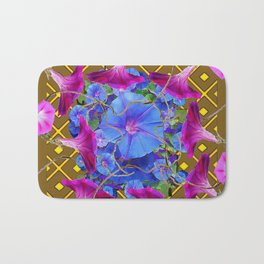 Nut Brown  Pink-Purple-Blue Morning Glory Abstract Bath Mat