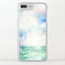 Colored Sky Watercolor Painting Clear iPhone Case