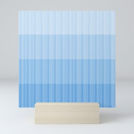 Four Shades of Light Blue with Stripes Mini Art Print