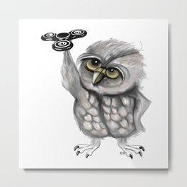 Fidget spinner owl Metal Print