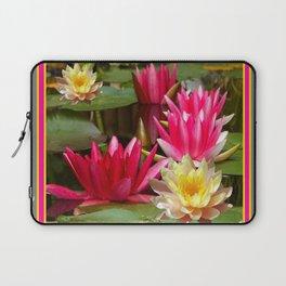 FUCHSIA PINK & YELLOW WATER LILIES Laptop Sleeve