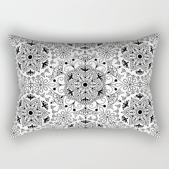 Mandala_White and Black Rectangular Pillow