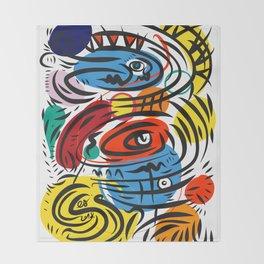 Joyful Life Abstract Art Illustration for Kids and Everyone Throw Blanket