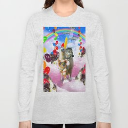 Cat Riding Llama With Sundae And Jelly Beans Long Sleeve T-shirt