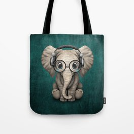 Cute Baby Elephant Dj Wearing Headphones and Glasses on Blue Tote Bag