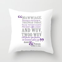 princess bride Throw Pillows featuring custom listing for Wedding Date and names Princess Bride by studiomarshallarts