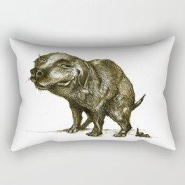 Pooping golden puppy Rectangular Pillow