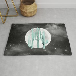 Cactus Nights Full Moon Starry Sky Sage by Nature Magick Rug