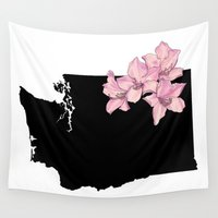 washington Wall Tapestries featuring Washington Silhouette by Ursula Rodgers