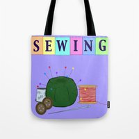 sewing Tote Bags featuring Sewing by Grace Isabel