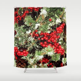 Frosted Christmas Tree with Holly Shower Curtain