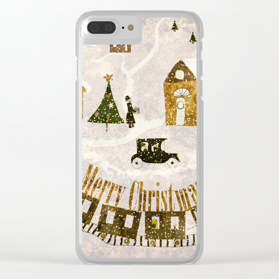 New year's design Merry Christmas grunge design Clear iPhone Case