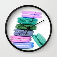 macaroons Wall Clocks featuring Macaroons  Pink Aqua Periwinkle by Whimsy Romance & Fun