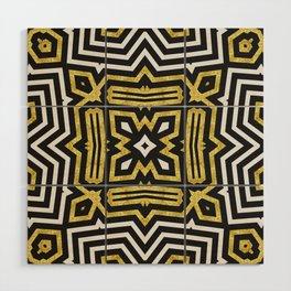 Aztec Gold Black Bold Pattern Wood Wall Art