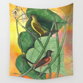Orioles with Catalpa Tree, Natural History, Vintage Botanical Collage Wall Tapestry