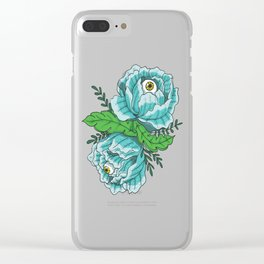 Spooky Blue Roses Clear iPhone Case