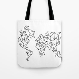 Geometric Low Poly Map of The World / Polygon geometry Tote Bag