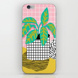 Get Real - potted plant throwback retro neon 1980s style art print minimal abstract grid lines shape iPhone Skin