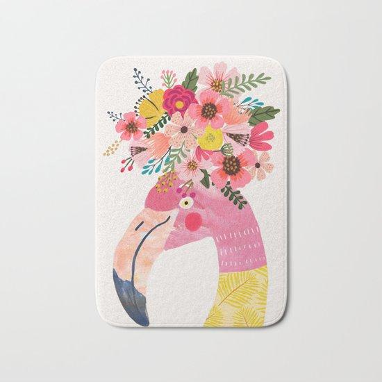 Pink flamingo with flowers on head by miacharro