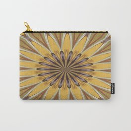 Yellow and Ochre Flower Pattern Abstract Carry-All Pouch