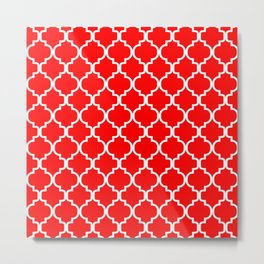 Moroccan Trellis (White & Red Pattern) Metal Print