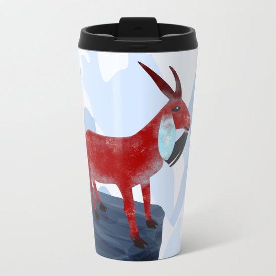 Mountain Goat Design Metal Travel Mug