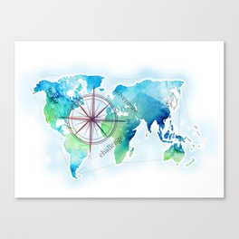 Watercolor map Canvas Print