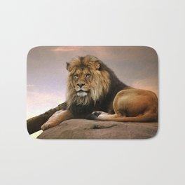 Gorgeous Wonderful Big Male African Lion Chilling Close Up Ultra HD Bath Mat